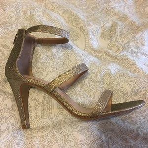 Gorgeous NIB Gold Sparkly Skinny Strap Heel Shoe